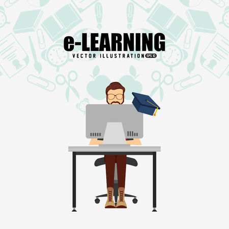 learning icon: e-learning concept design, vector illustration eps10 graphic