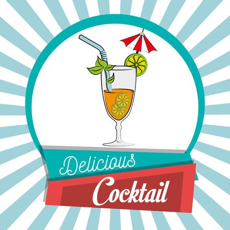 鸡尾酒吧菜单平面设计,矢量插图eps10