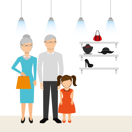 family shopping: family shopping design, vector illustration eps10 graphic Illustration
