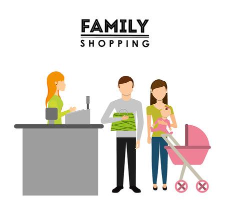shopping family: family shopping design, vector illustration eps10 graphic Illustration