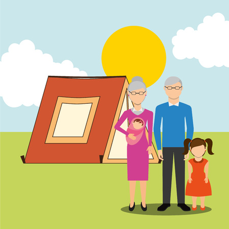 family outside: family people design, vector illustration eps10 graphic