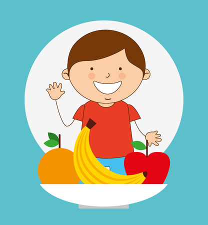 children eating: child nutrition design, vector illustration eps10 graphic