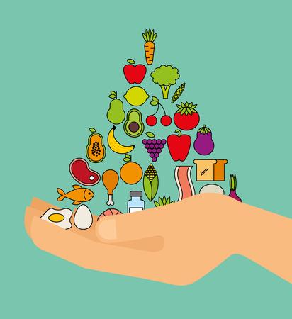 piramide nutricional: diseño de la salud nutricional, ejemplo gráfico del vector eps10 Vectores