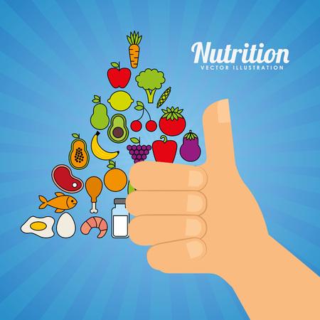 piramide nutricional: dise�o de la salud nutricional, ejemplo gr�fico del vector eps10 Vectores