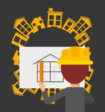 inspector: professional architect design, vector illustration eps10 graphic Illustration