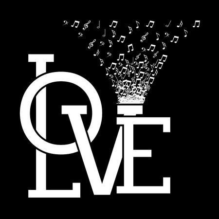 valentine musical note: love card design, vector illustration eps10 graphic Illustration