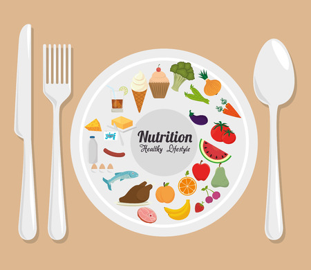 aliment: Food and nutrition graphic design, vector illustration eps10