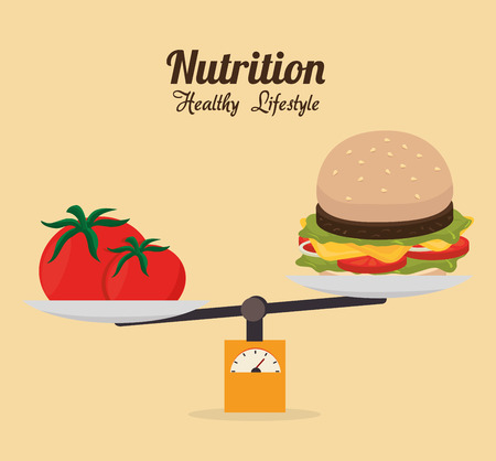 between: Food and nutrition graphic design, vector illustration eps10