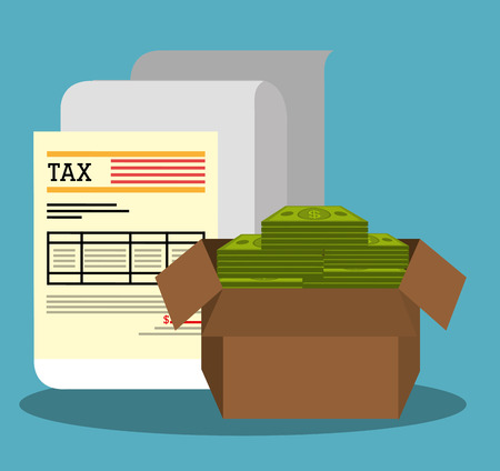 search box: Pay taxes graphic design, vector illustration