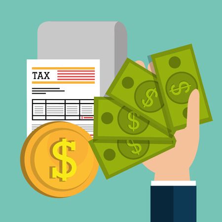 taxes: Pay taxes graphic design, vector illustration