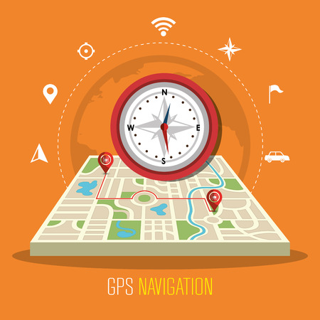 GPS navigation technology graphic design, vector illustration