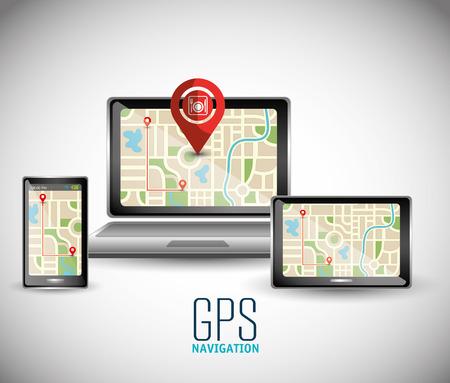 global navigation system: GPS navigation technology graphic design, vector illustration