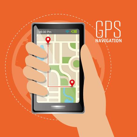 cartography: GPS navigation technology graphic design, vector illustration