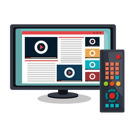 video icons: TV live stream graphic design, vector illustration