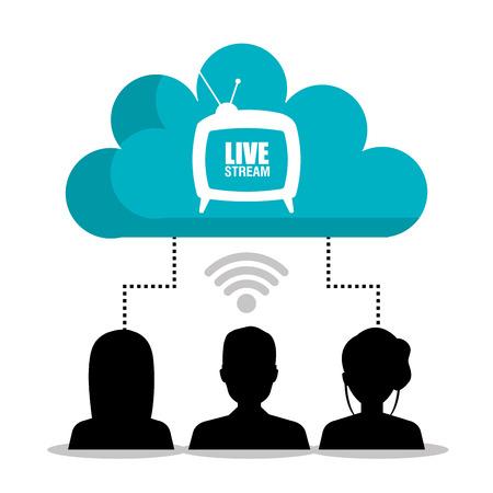 TV na żywo strumień grafiki, ilustracji wektorowych