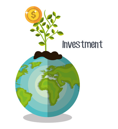 fund world: Business and money investment graphic design, vector illustration