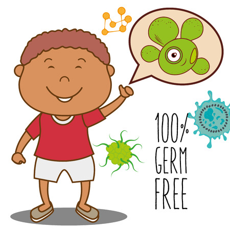 germ free: Germs and bacteria cartoon graphic design, vector illustration