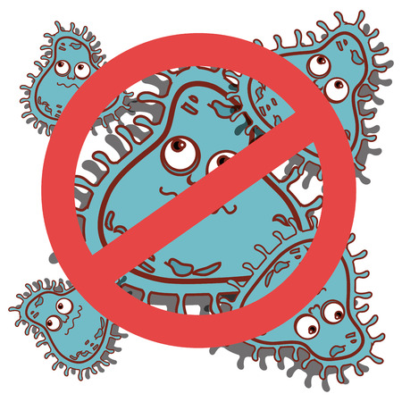 inhibited: Germs and bacteria cartoon graphic design, vector illustration