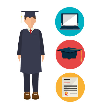 graduated: academic excellence design, vector illustration eps10 graphic Illustration