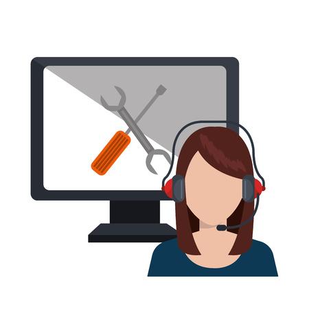 mobile operators: call center service design, vector illustration eps10 graphic Illustration