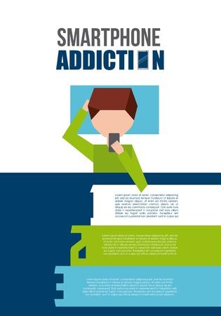 addiction: smartphone addiction design, vector illustration eps10 graphic
