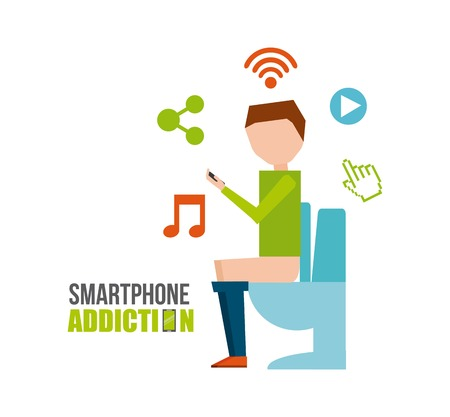 addicted: smartphone addiction design, vector illustration eps10 graphic