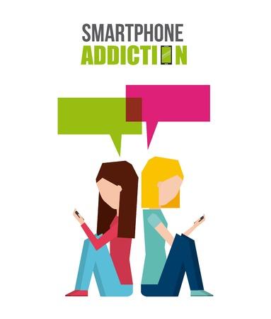 smartphone addiction design, vector illustration eps10 graphic