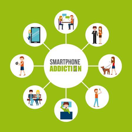 smartphone verslaving ontwerp, vector illustratie grafische