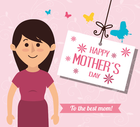 hanging woman: happy mothers day design, vector illustration eps10 graphic Illustration