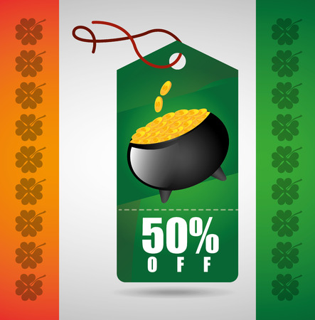 gold leafs: saint patricks sale design, vector illustration eps10 graphic Illustration