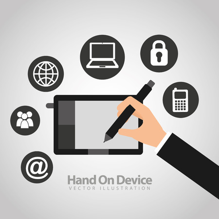 arroba: hand on device design, vector illustration eps10 graphic