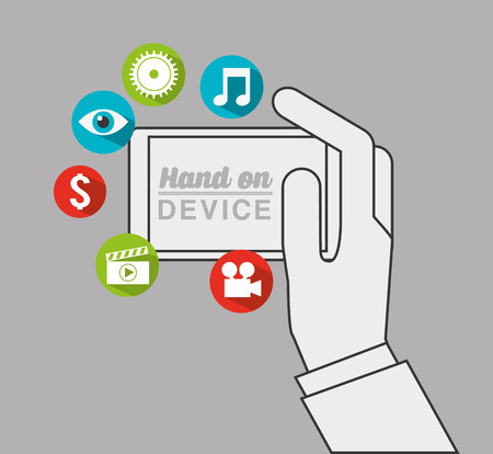 file type: hand on device design, vector illustration eps10 graphic