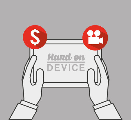 users video: hand on device design, vector illustration eps10 graphic