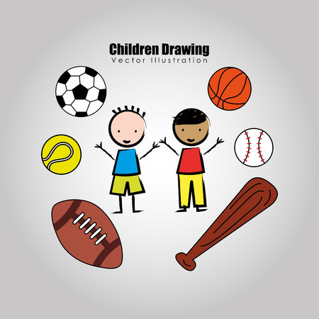balon de basketball: children drawing design, vector illustration eps10 graphic