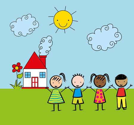 niños dibujando: los niños de diseño de dibujo, ejemplo gráfico del vector eps10 Vectores