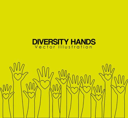 social awareness symbol: diversity hands design, vector illustration eps10 graphic