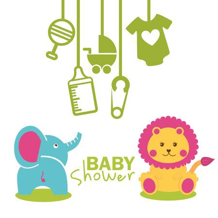 leon caricatura: beb� ducha dise�o, ilustraci�n vectorial gr�fico eps10