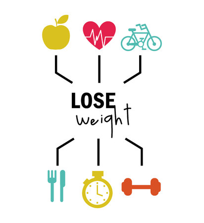 weight control: lose weight design, vector illustration eps10 graphic
