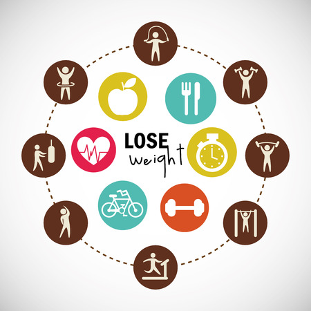 perdere peso disegno, illustrazione grafica vettoriale eps10