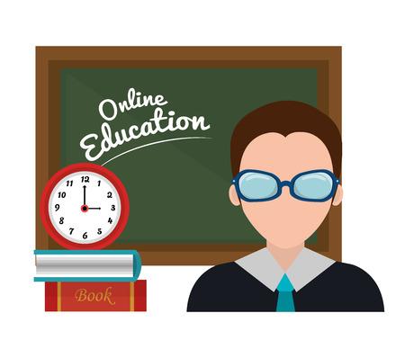 lady clock: online education design, vector illustration eps10 graphic