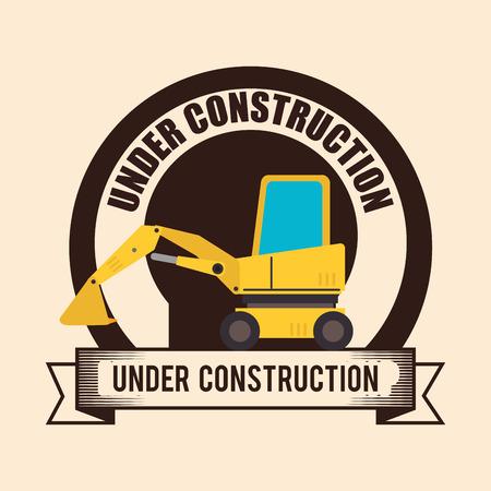 tractor warning: under construction design, vector illustration eps10 graphic Illustration