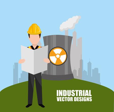 atomic symbol: industrial plant design, vector illustration eps10 graphic