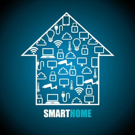 El diseño inteligente del hogar, ejemplo gráfico del vector eps10 Foto de archivo - 52695155