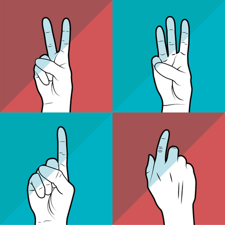 number 4: sign language design, vector illustration eps10 graphic