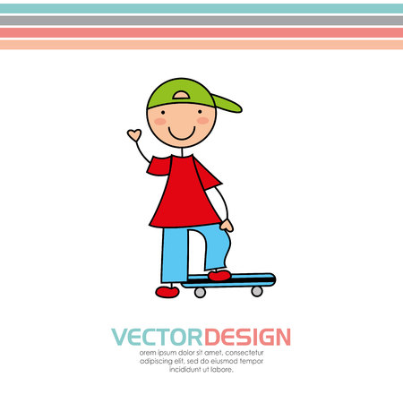little skate: cute kids design, vector illustration eps10 graphic
