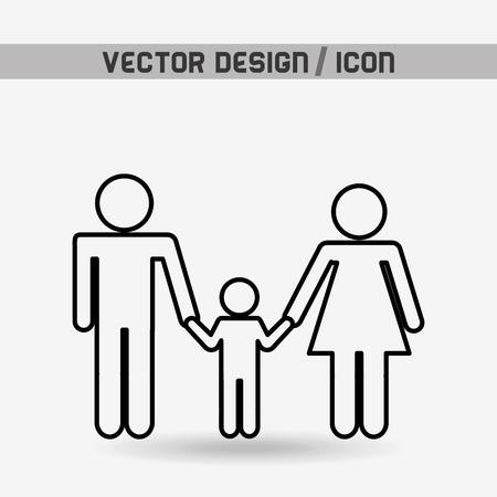 disegno famiglia silhouette, illustrazione grafica vettoriale eps10