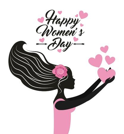 Mujer feliz día diseño, ilustración vectorial Foto de archivo - 52901179