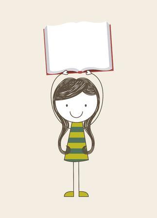 back view student: back to school design, vector illustration