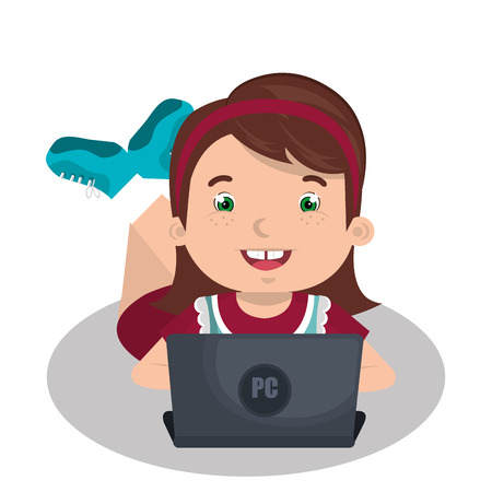 using: Children using computer design, vector illustration