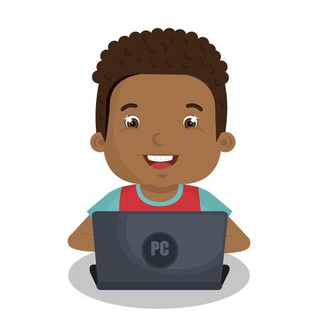 pc: Children using computer design, vector illustration